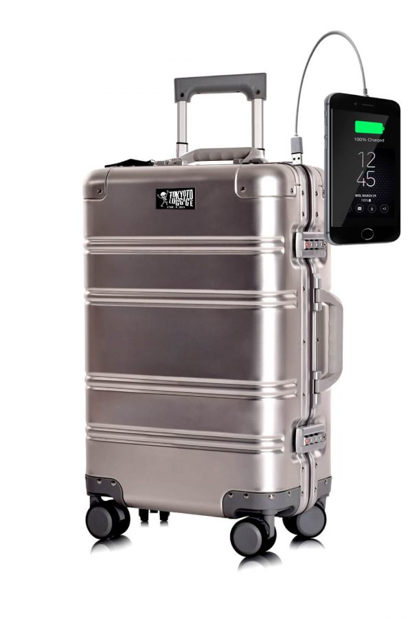 Aluminum Suitcase Trolley Cabin Luggage Silver Logo Tokyoto 1