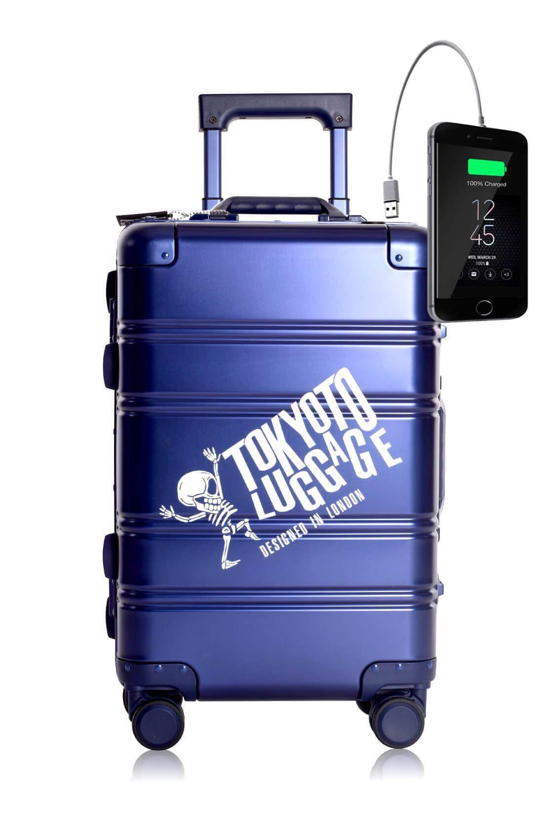 Aluminum MEtal Hand Trolley Cabin Luggage Suitcase Online TOKYOTO BLUE LOGO