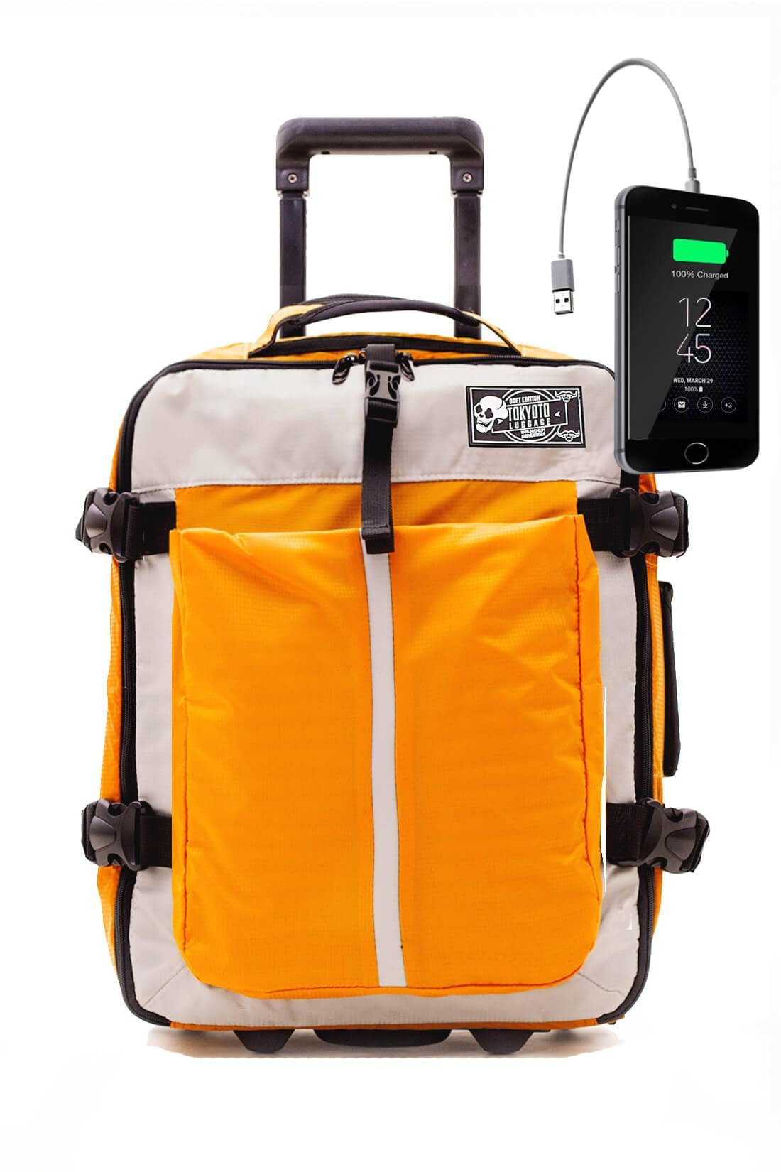 Kids Hand Trolley Cabin Luggage Suitcase Online Powerbank USB SOFT YELLOW