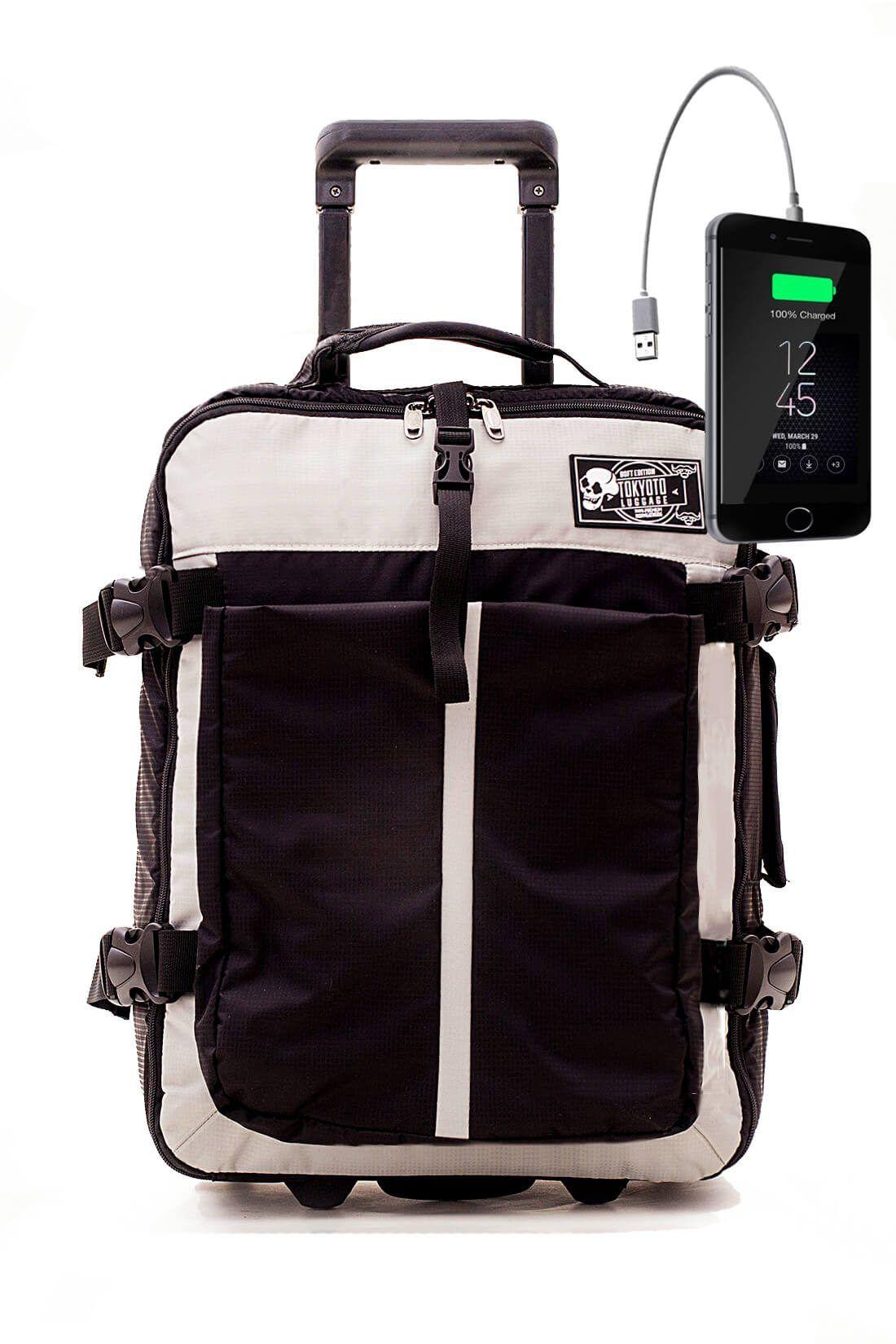 Nylon Kids Hand Trolley Cabin Luggage Suitcase Online Powerbank USB TOKYOTO SOFT BLACK