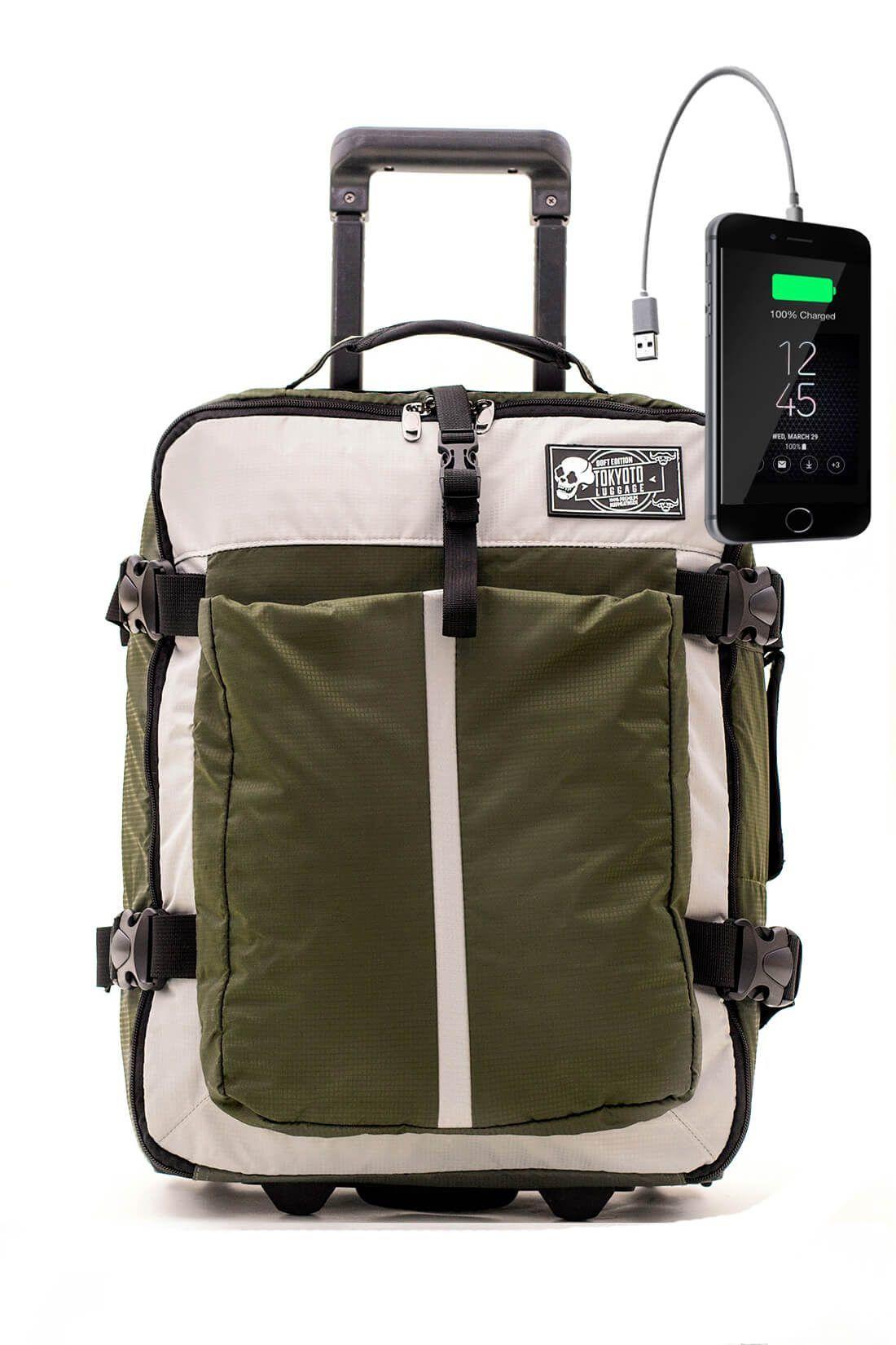 Nylon Kids Hand Trolley Cabin Luggage Suitcase Online Powerbank USB TOKYOTO SOFT GREEN