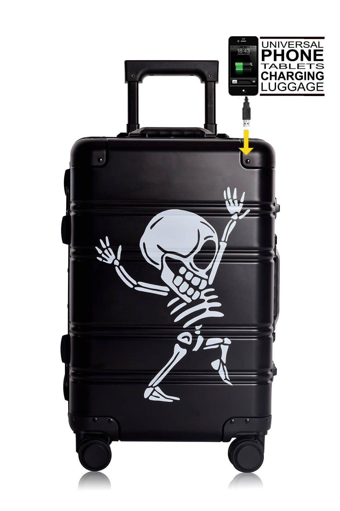 Aluminium Hand Cabin Luggage Premium Suitcase Trolley TOKYOTO LUGGAGE Model BLACK SKULL
