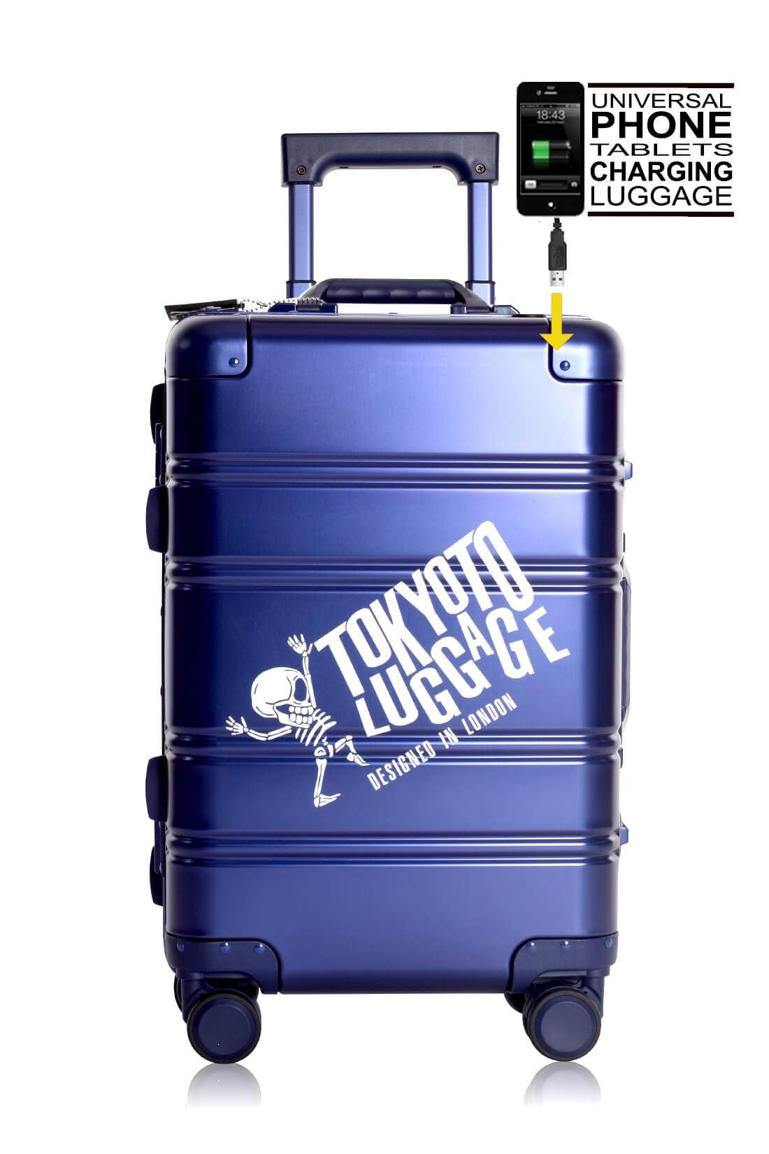 Aluminium Hand Cabin Luggage Premium Suitcase Trolley TOKYOTO LUGGAGE Model BLUE LOGO