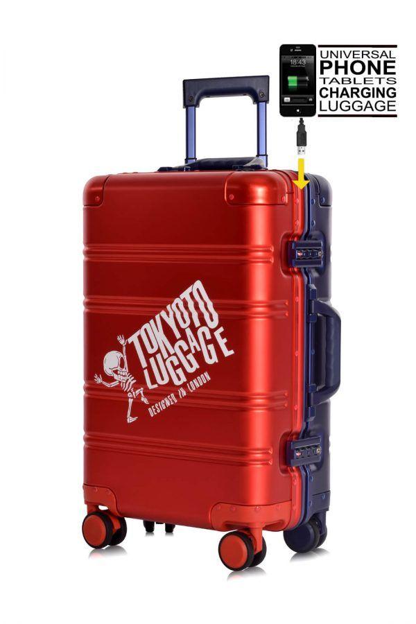 Aluminium Hand Cabin Luggage Premium Suitcase Trolley TOKYOTO LUGGAGE Model RED BLUE LOGO