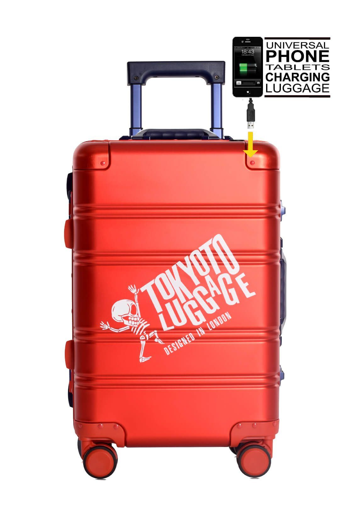 Aluminium Hand Cabin Luggage Premium Suitcase Trolley TOKYOTO LUGGAGE Model RED BLUE LOGO