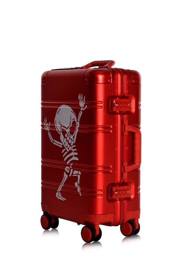 Aluminium Hand Cabin Luggage Premium Suitcase Trolley TOKYOTO LUGGAGE Model RED SKULL 9