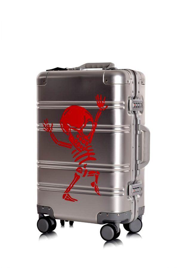 Aluminium Hand Cabin Luggage Premium Suitcase Trolley TOKYOTO LUGGAGE Model SILVER SKULL 6