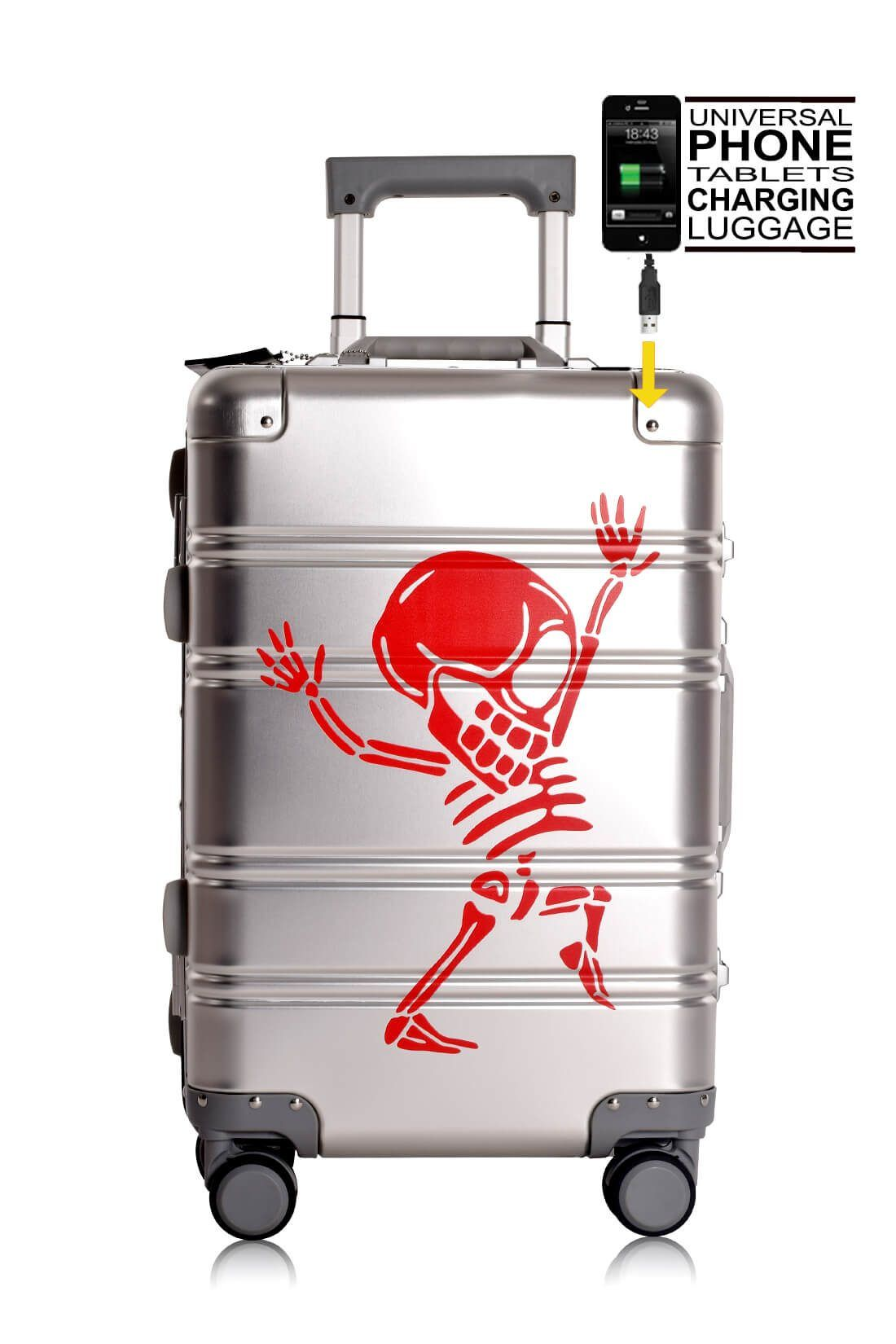 Aluminium Hand Cabin Luggage Premium Suitcase Trolley TOKYOTO LUGGAGE Model SILVER SKULL 7