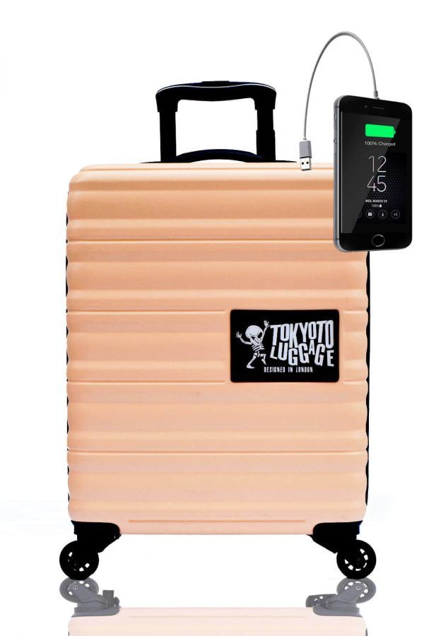 ABS Hand Trolley Cabin Luggage Suitcase Online Powerbank USB Charger TOKYOTO BEIGE
