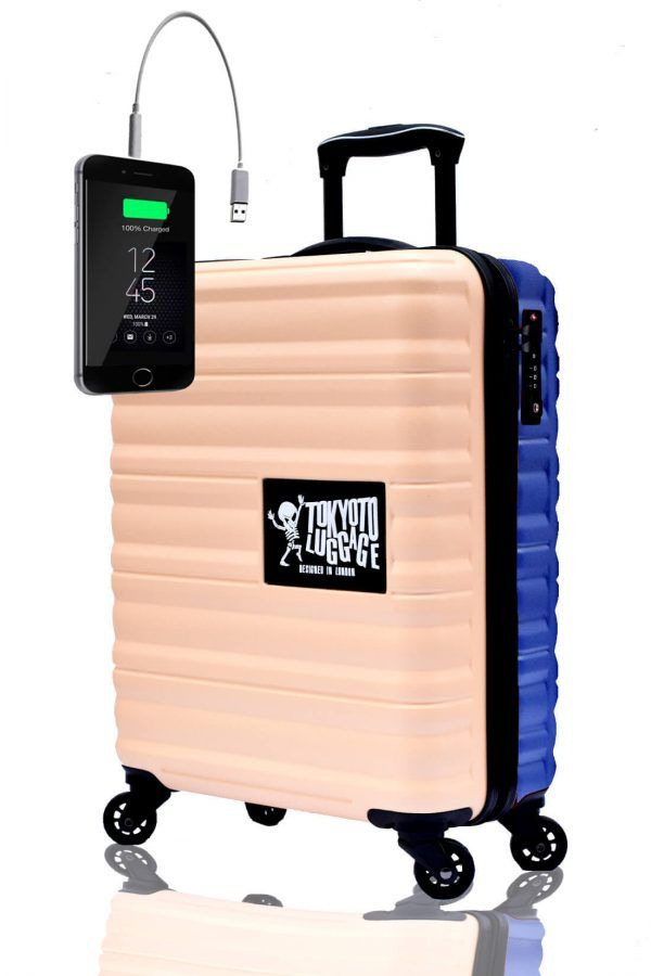 ABS Hand Trolley Cabin Luggage Suitcase Online Powerbank USB Charger TOKYOTO BEIGE BLUE