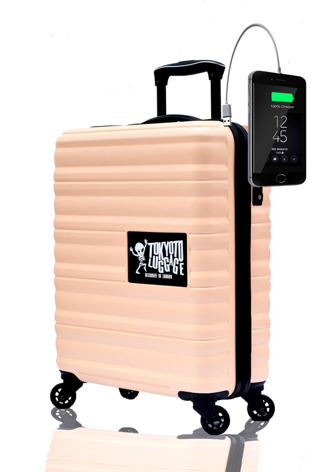 ABS Hand Trolley Cabin Luggage Suitcase Online Powerbank USB Charger TOKYOTO BEIGE CORAL