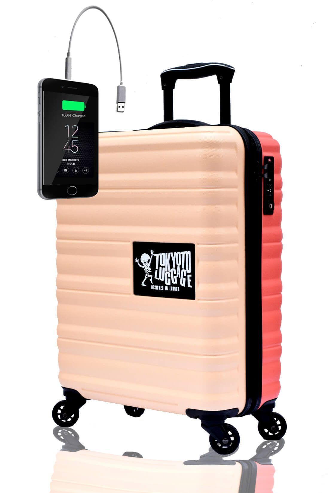 ABS Hand Trolley Cabin Luggage Suitcase Online Powerbank USB Charger TOKYOTO BEIGE CORAL (2)