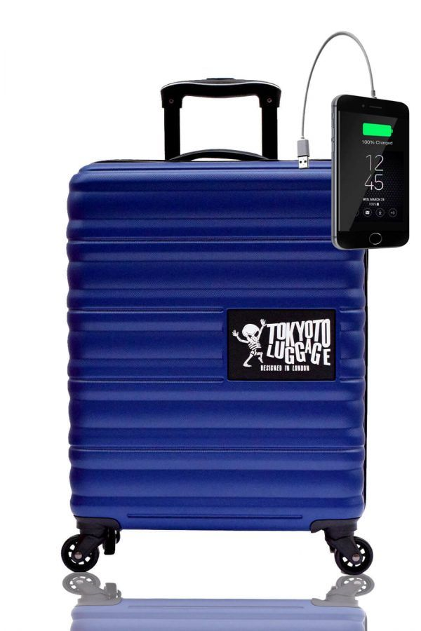 ABS Hand Trolley Cabin Luggage Suitcase Online Powerbank USB Charger TOKYOTO BLUE MARINE 2