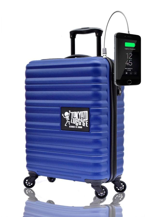 ABS Hand Trolley Cabin Luggage Suitcase Online Powerbank USB Charger TOKYOTO BLUE MARINE