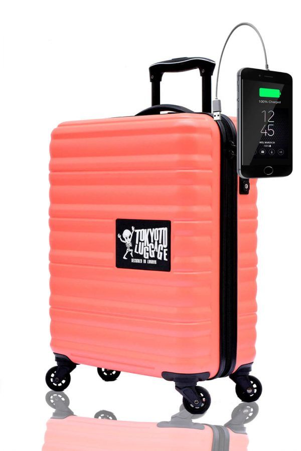 ABS Hand Trolley Cabin Luggage Suitcase Online Powerbank USB Charger TOKYOTO CORAL