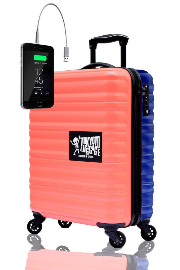 ABS Hand Trolley Cabin Luggage Suitcase Online Powerbank USB Charger TOKYOTO CORAL BLUE 2