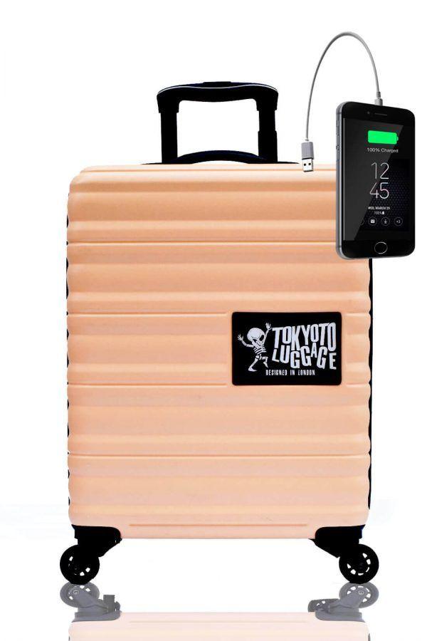 ABS Kids Hand Trolley Cabin Luggage Suitcase Online Powerbank USB TOKYOTO BEIGE