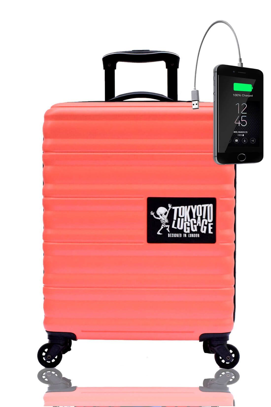 ABS Kids Hand Trolley Cabin Luggage Suitcase Online Powerbank USB TOKYOTO CORAL 3