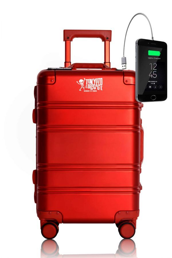 Aluminum MEtal Hand Trolley Cabin Luggage Suitcase Online TOKYOTO RED LOGO