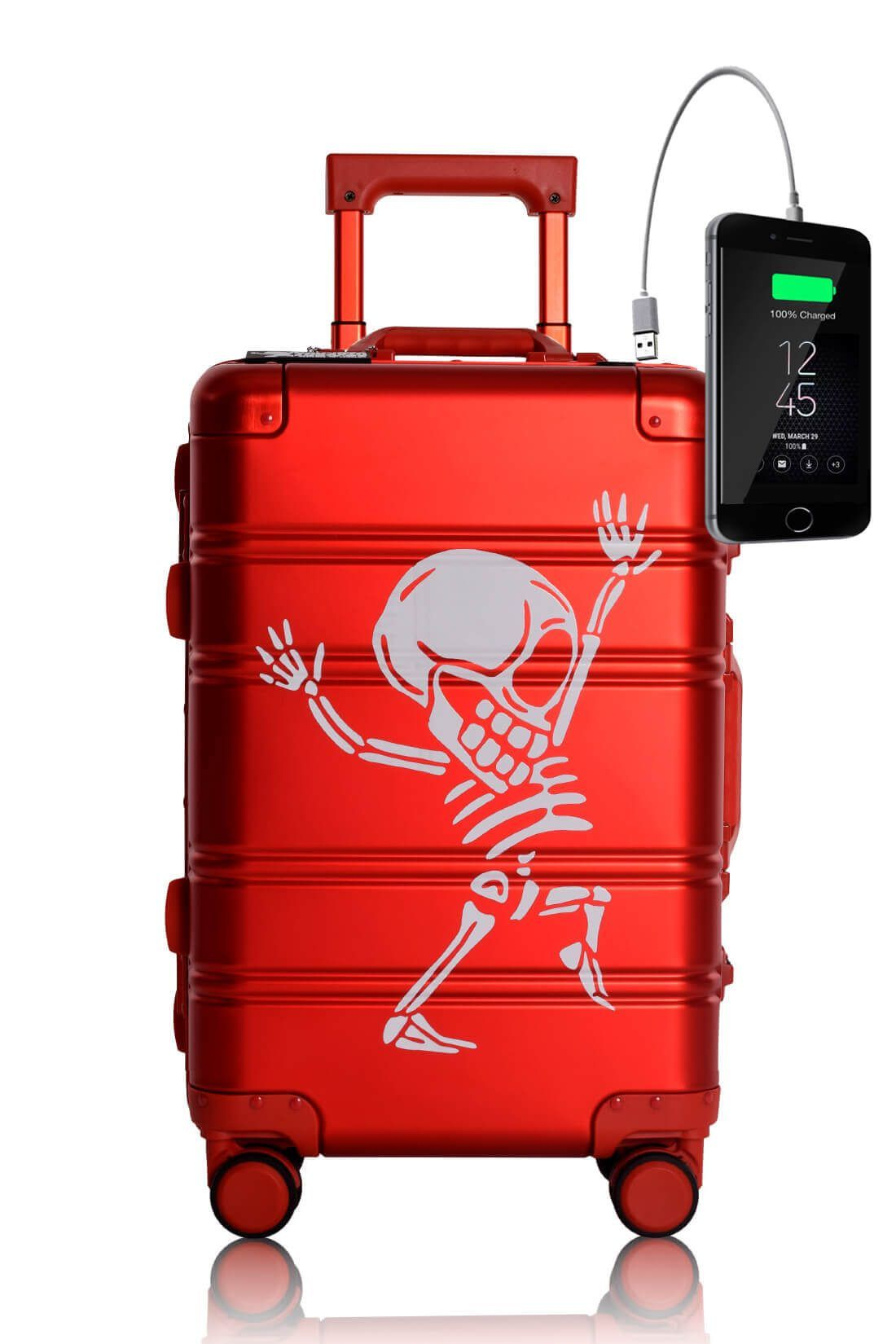 Aluminum MEtal Hand Trolley Cabin Luggage Suitcase Online TOKYOTO RED SKULL