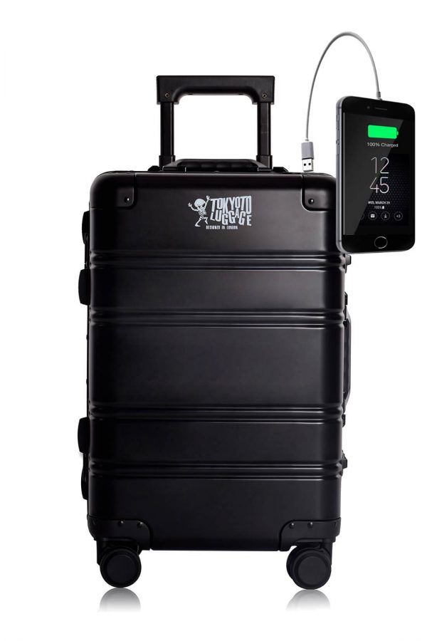 Aluminum Metal Hand Trolley Cabin Luggage Suitcase Online Powerbank USB Charger TOKYOTO BLACK LOGO