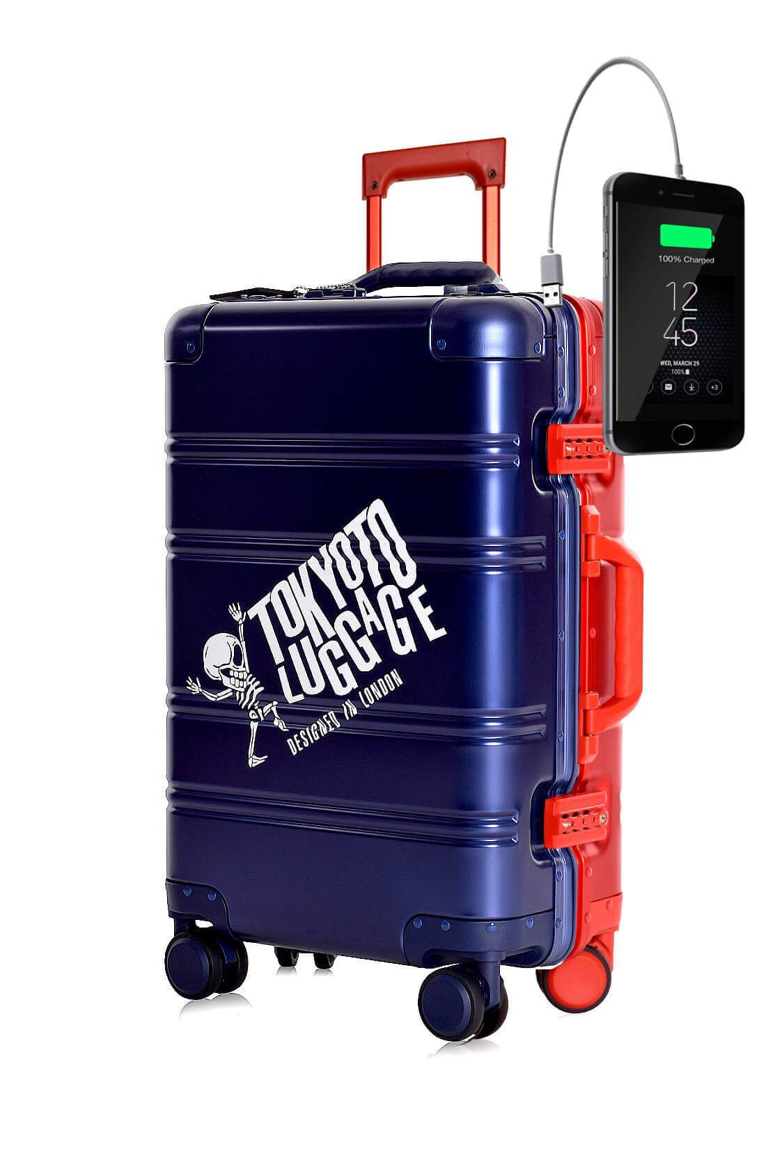 Aluminum Metal Hand Trolley Cabin Luggage Suitcase Online Powerbank USB Charger TOKYOTO BLUE RED LOGO