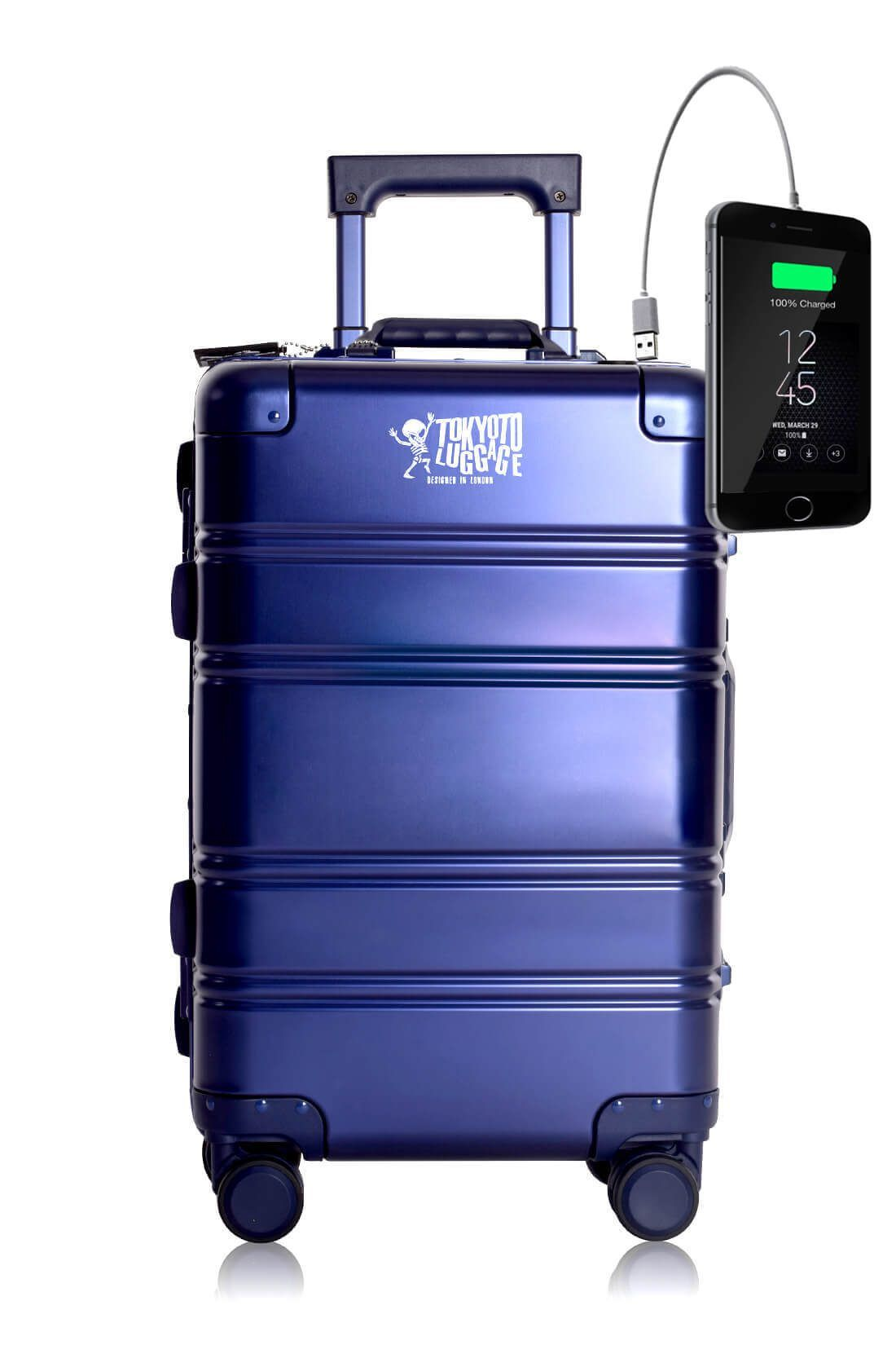 Aluminum Metal Hand Trolley Cabin Luggage Suitcase Online Powerbank USB Charger TOKYOTO BLUE SMALL LOGO