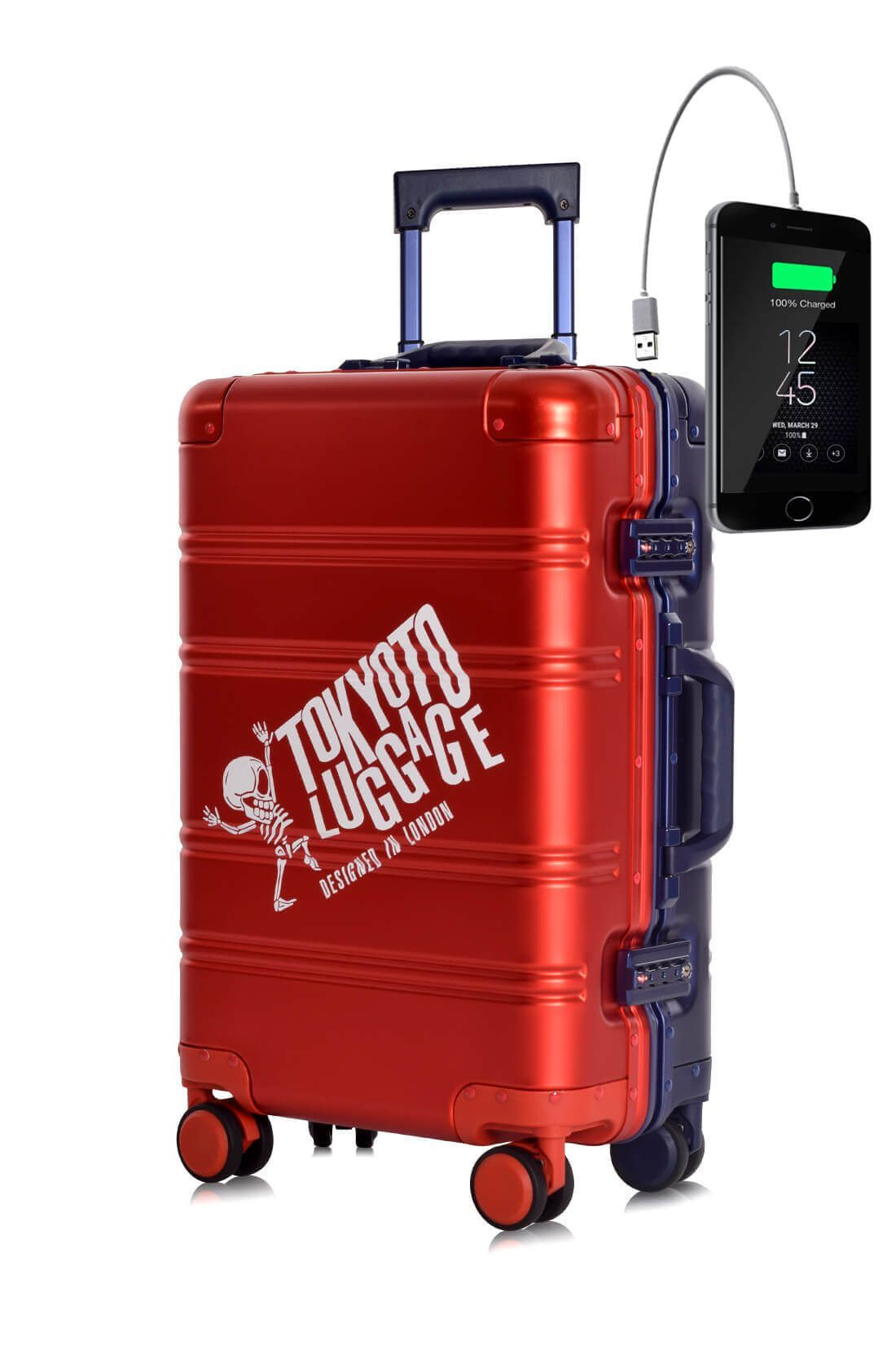 Aluminum Metal Hand Trolley Cabin Luggage Suitcase Online Powerbank USB Charger TOKYOTO RED BLUE LOGO