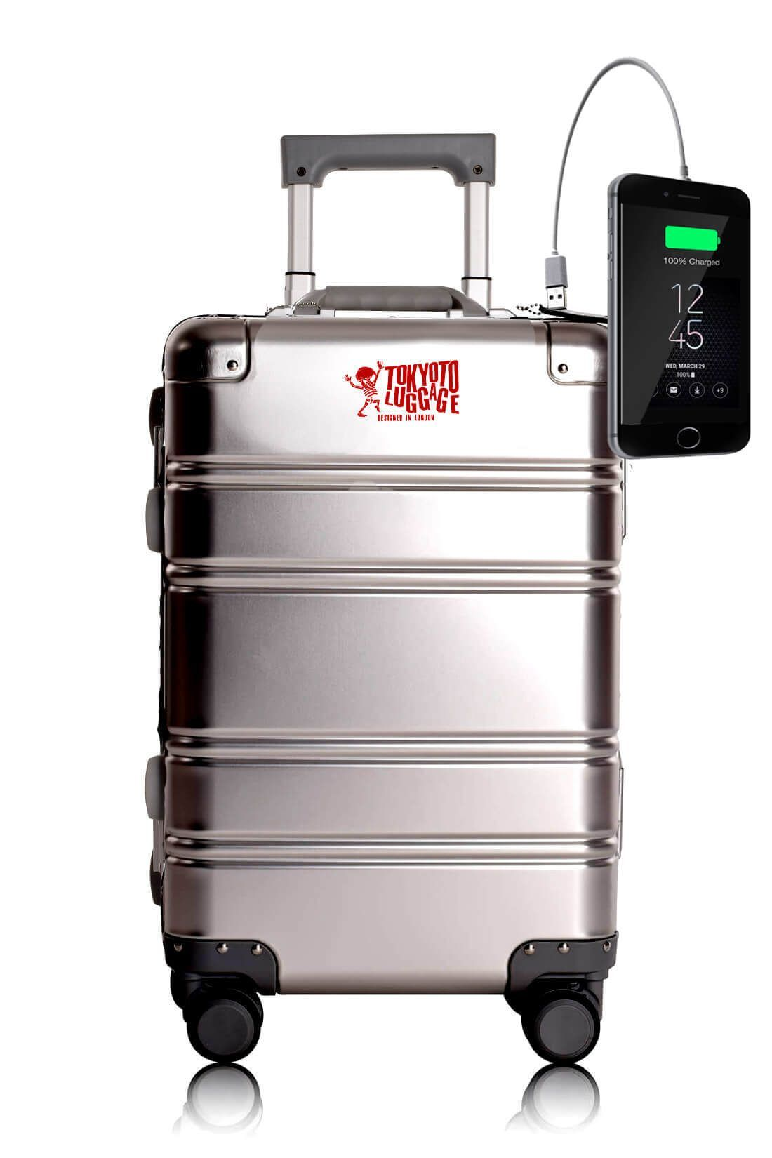 Aluminum Metal Hand Trolley Cabin Luggage Suitcase Online Powerbank USB Charger TOKYOTO SILVER LOGO