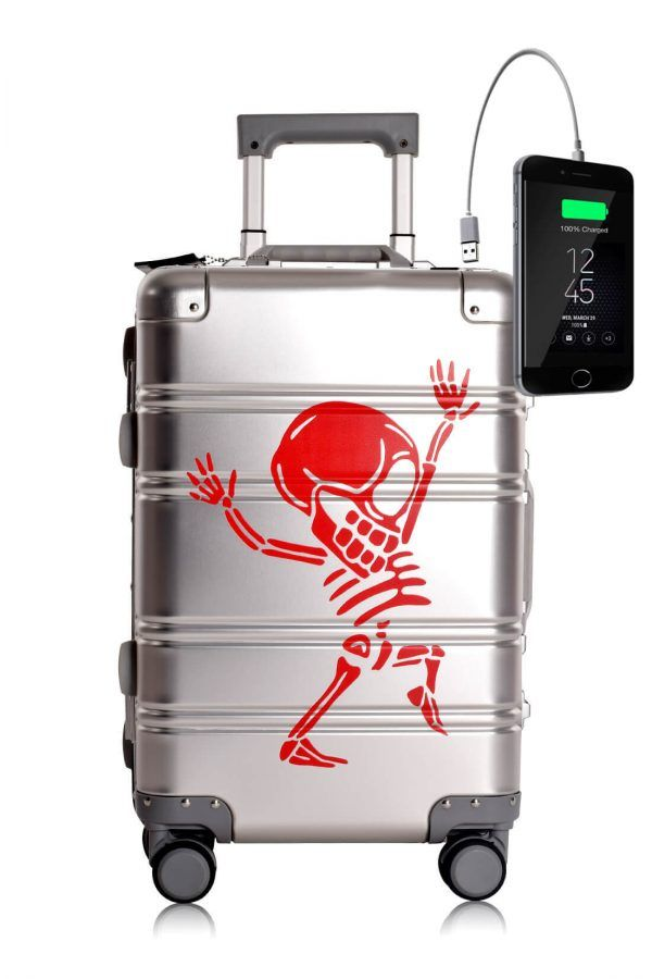 Aluminum Metal Hand Trolley Cabin Luggage Suitcase Online Powerbank USB Charger TOKYOTO SILVER SKULL