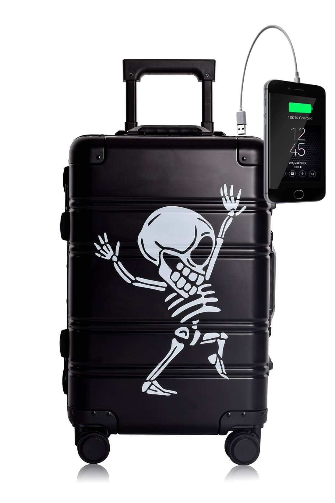 Aluminum Metal Hand Trolley Cabin Luggage Suitcase Online TOKYOTO BLACK SKULL