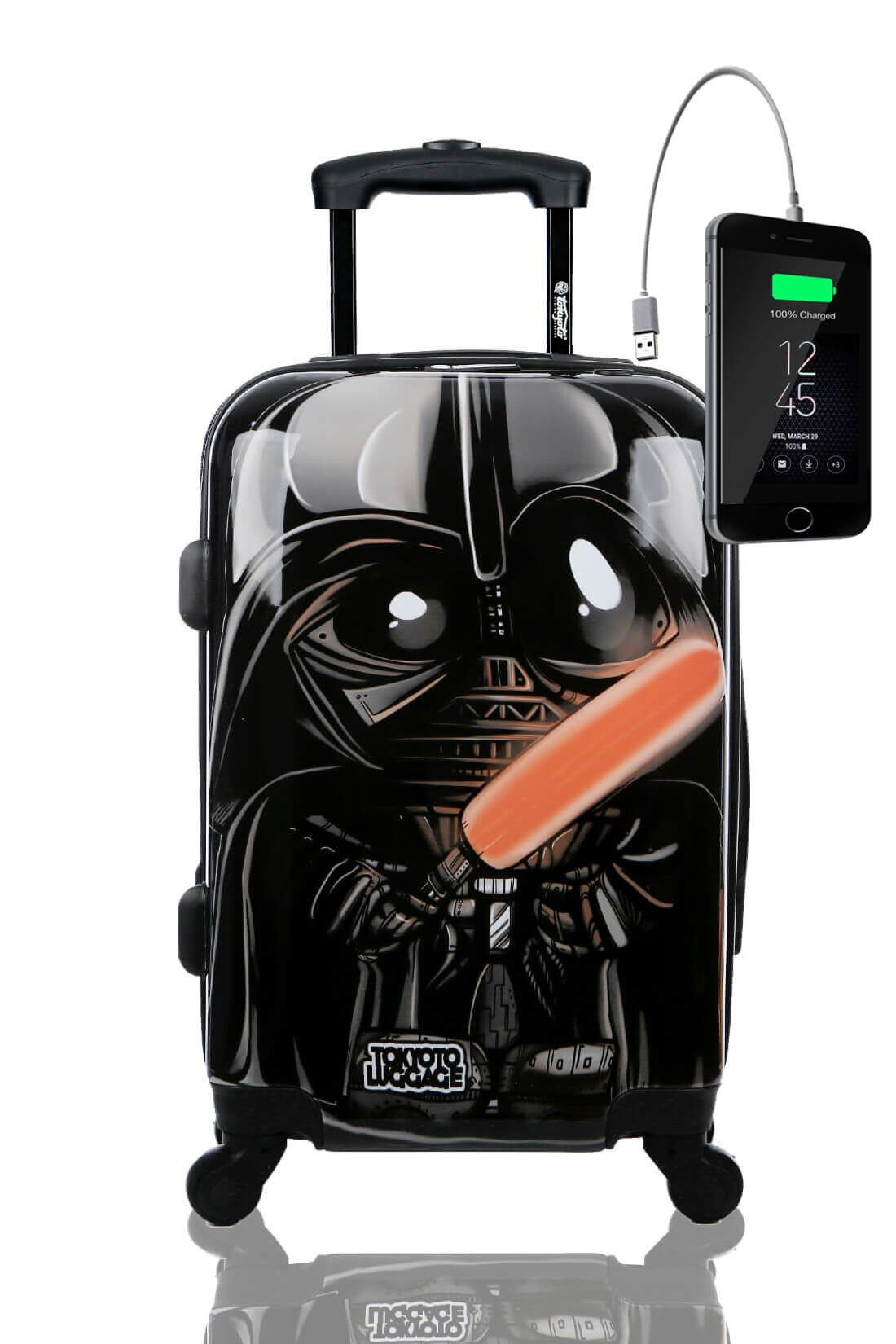 Kids Hand Trolley Cabin Luggage Suitcase Online Powerbank USB TOKYOTO BLACK EMPIRE