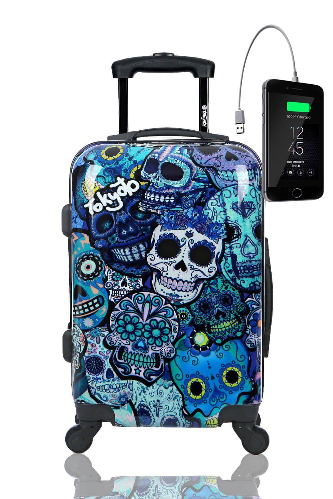 Kids Hand Trolley Cabin Luggage Suitcase Online Powerbank USB TOKYOTO BLUE SKULLS