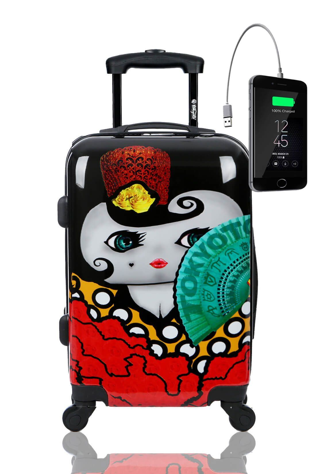 Kids Hand Trolley Cabin Luggage Suitcase Online Powerbank USB TOKYOTO FLAMENCA