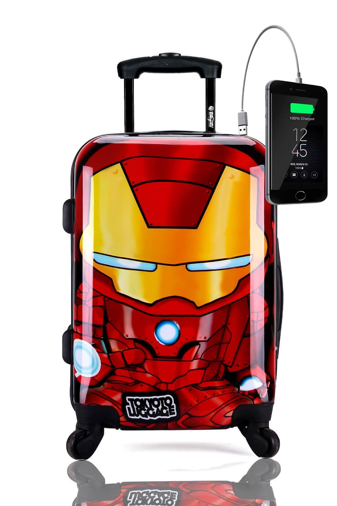 Kids Hand Trolley Cabin Luggage Suitcase Online Powerbank USB TOKYOTO IRON BOY