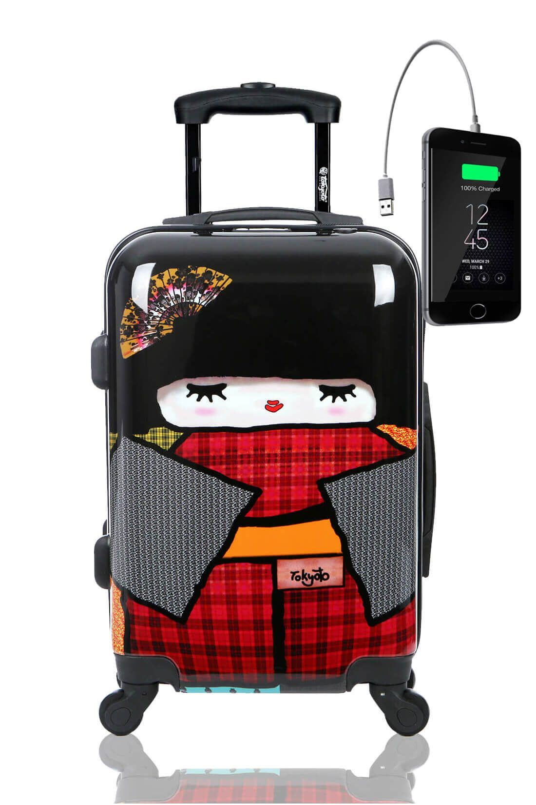 Kids Hand Trolley Cabin Luggage Suitcase Online Powerbank USB TOKYOTO JAPAN DOLL