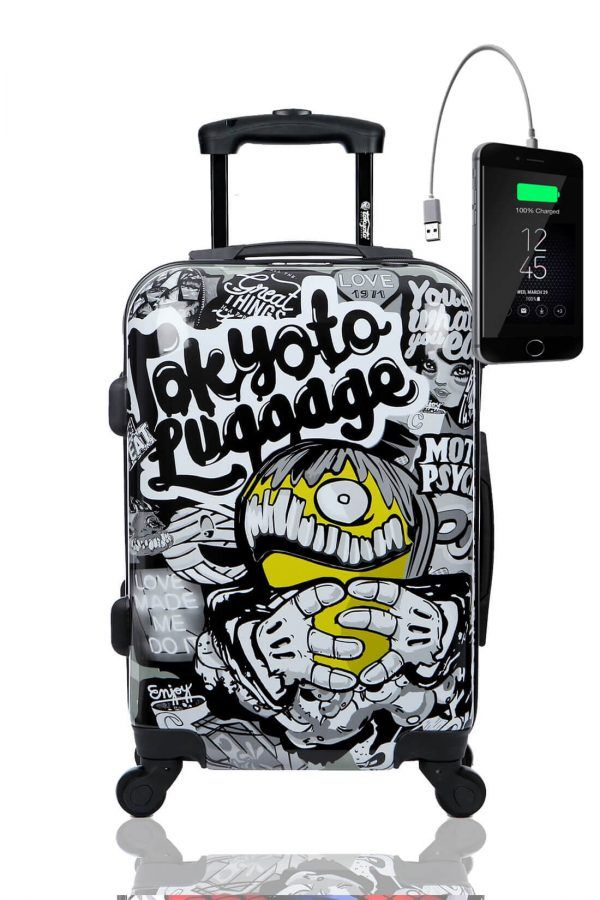 Kids Hand Trolley Cabin Luggage Suitcase Online Powerbank USB TOKYOTO MAD COOL