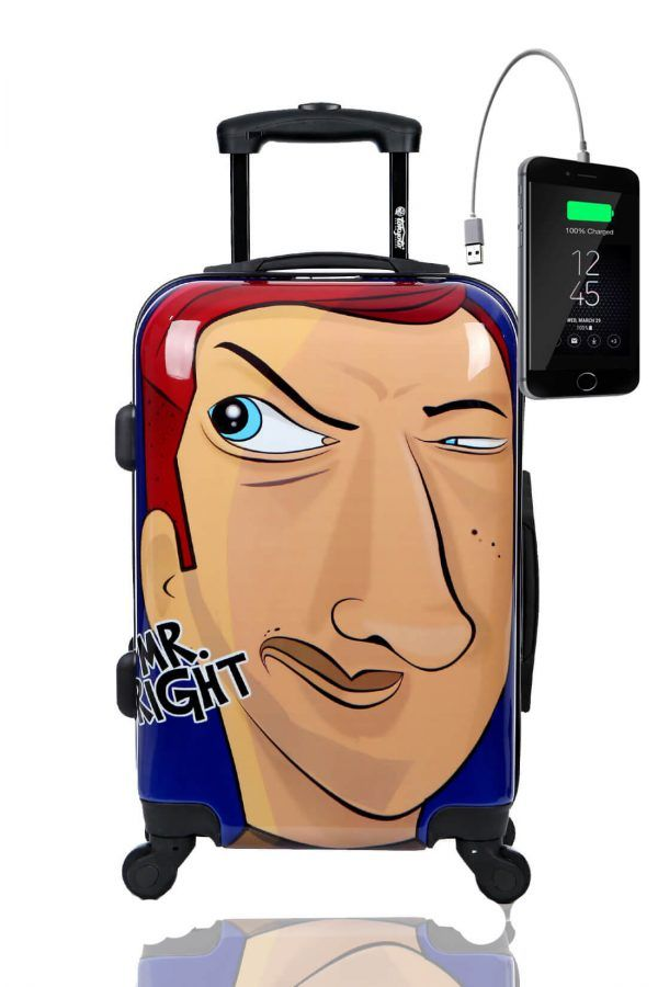 Kids Hand Trolley Cabin Luggage Suitcase Online Powerbank USB TOKYOTO MISTER RIGHT