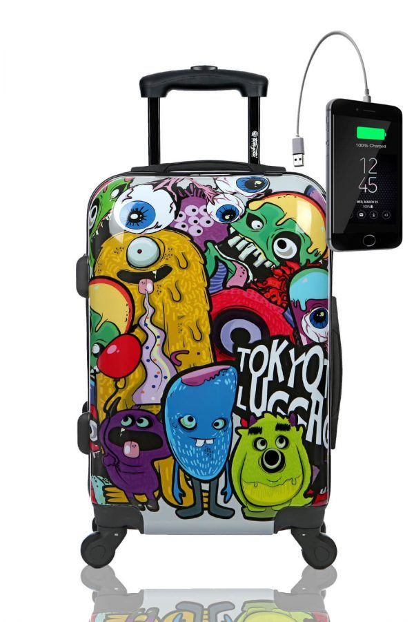 Kids Hand Trolley Cabin Luggage Suitcase Online Powerbank USB TOKYOTO MONSTERS ZOMBIES