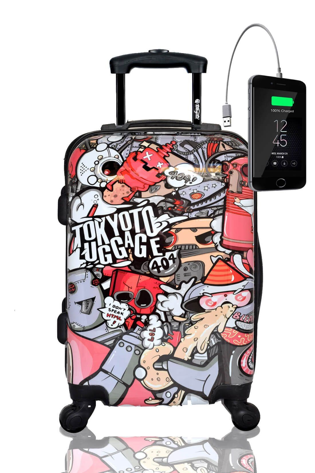 Kids Hand Trolley Cabin Luggage Suitcase Online Powerbank USB TOKYOTO PARTY ROBOTS