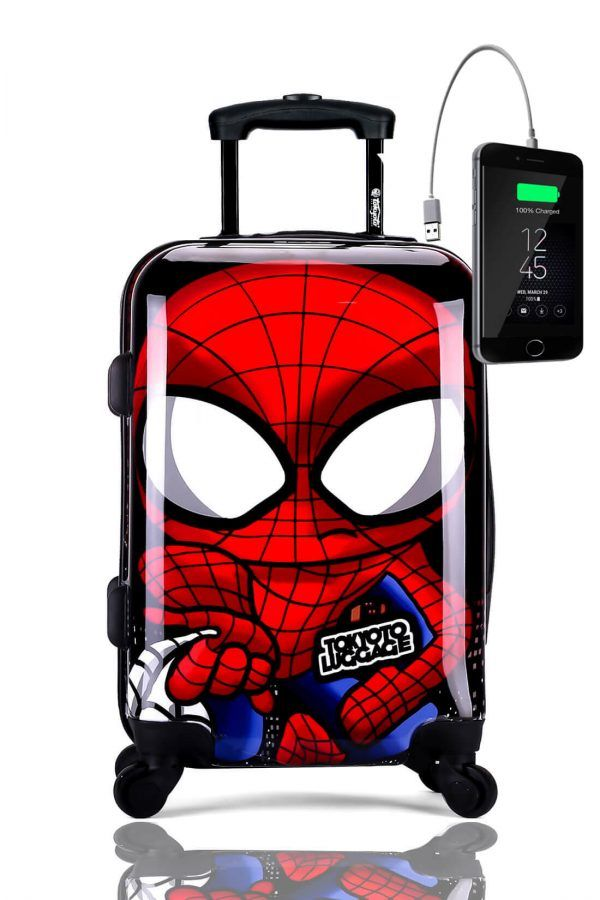 Kids Hand Trolley Cabin Luggage Suitcase Online Powerbank USB TOKYOTO SPIDER BOY
