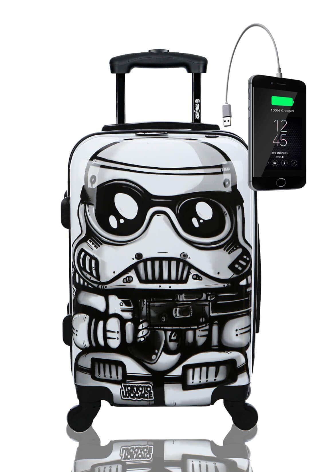 Kids Hand Trolley Cabin Luggage Suitcase Online Powerbank USB TOKYOTO WHITE SOLDIER