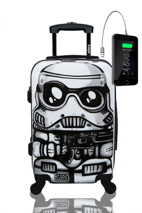 Kids Hand Trolley Cabin Luggage Suitcase Online Powerbank USB TOKYOTO WHITE SOLDIER